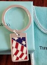 Enamel American Flag Key Ring 1994 Tiffany & Co Makers 925 Sterling Silver