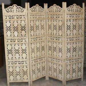 MADE TO ORDER Hand Carved Indian 4 Panel Screen Room Divider White Wash Painted