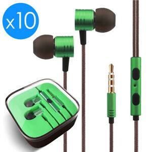 10x 3.5mm Earbuds Earphones Headphones Headsets For iPhone Samsung Remote & Mic