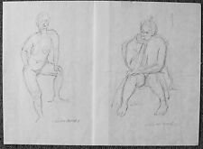 LILLIAN MANNEY - TWO (2) DRAWINGS OF MATURE NUDE WOMEN - LISTED ARTIS - C.1970