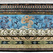 Silk Rug Chinese Dragons Handmade 7.5' X 4' Pictorial Floor or Wall Hanging