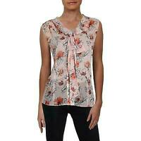 Tahari ASL Womens Pink Printed Sleeveless Button-Down Blouse Top M