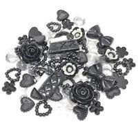 80 Mix Black Shabby Chic Resin Flatbacks Craft Cardmaking Embellishments