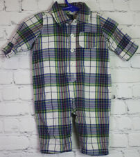 BABY GAP 0 to 3 Months BLUE RED PLAID JERSEY LINED COVERALL BUTTON UP OUTFIT 3M