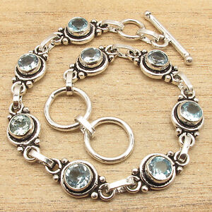 """925 Silver Plated UNISEX Fashion Jewelry, Genuine BLUE TOPAZ ART Bracelet 7.5"""""""