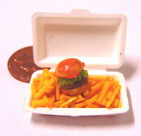 1:12 Scale Take Away Burger & Chips Fries Dolls House Miniature Food Accessory