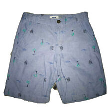 Old Navy Boy's Sz 8 Resort Shorts Blue with Palm Trees & Boats