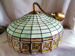 Huge Vintage Tiffany Style Leaded Stained Glass Ceiling light -Pull Down Fixture