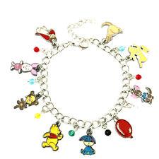 Disney's Winnie-the-Pooh (9 Themed Charms) Assorted Metal Charm Bracelet New