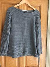 Monari Grey/Silver Ribbed Sweater Size 16