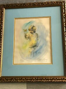"""Connie King """"Boy with Butterfly"""" Hand Colored Lithograph Print Signed & Numbered"""