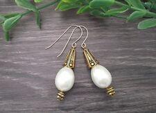 Gold Filled Hooks & Large White Glass Pearl Teardrop Antique Gold Plat Earrings