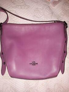 Coach Purple Leather Crossbody Purse Med Large