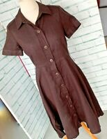 PHASE EIGHT Chocolate Brown Linen Button Front Dress Sz 12 UK Summer Midi / b41