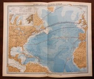 North Atlantic Ocean Shipping Lanes Telegraph Cables 1874 Berghaus detailed map