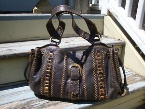 ISABELLA FIORE Black Brown Leather Whipstich Large Satchel Handbag Tote Biker