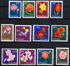 POLAND 1964 GARDEN FLOWERS SET OF 12 STAMPS - $3.70 VALUE!