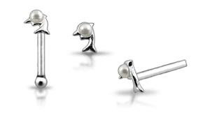 1 22g 6mm Silver Dolphin Pearl Nose Bone Stud Pin N163