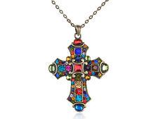 Old Medieval Vintage Beauty Crystal Rhinestone Cross Pendant Necklace