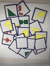 Lot of 23 Small Geoboard Learning Cards Peg Board New