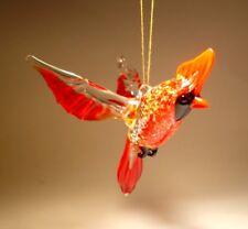 "Blown Glass Figurine ""Murano"" Art Hanging Bird Red Cardinal Ornament"
