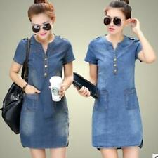 Fashion Womens Tops Causual Denim Jeans Shirt Dress Pocket Loose Dress Plus Size