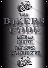 Il codice MOTOCICLISTI RACE la pioggia, cavalcare il vento, Chase la SUNSET metallo segno.