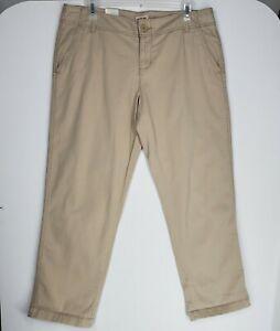 Mossimo Women's Boyfriend Crop Pants size 11 Khaki Zipper Closure Flat Front New