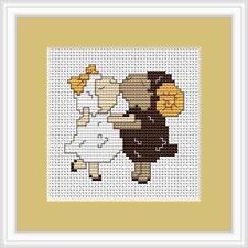 Sheep in Love Mini Cross Stitch Kit by Luca S