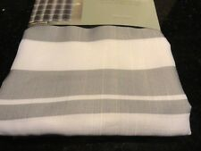new~Carson~Fabric SHOWER Curtain~GRAY WHITE~horizonal Classic Stripe~striped gre