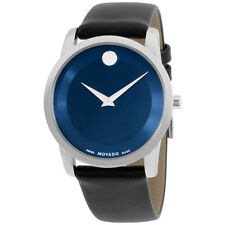 "Movado Men's 0606610 """"Museum"""" Stainless Steel Watch with Black Leather Band"