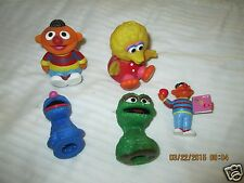 5 Vintage Sesame Street Character Figure Toys FINGER PUPPET ROLLY POLY