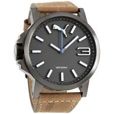 Puma Ultrasize Brown Dial Leather Strap Men's Watch PU103461017