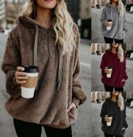 Women Hood Sweater Fur Outwear Velvet Warm Winter Hip Length Casual Occident