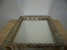 "New ListingVintage 16-3/4"" Gold Filigree Square Mirror Dresser Vanity Perfume Makeup Tray"