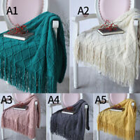 Nordic Style Plaids Knitted Blanket Tassel Knit Throw Blankets for Sofa Cover
