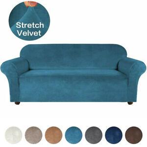 Luxury Stretch Velvet Arm Sofa Cover Couch Loveseat Slipcover 1/2/3/4 Seater