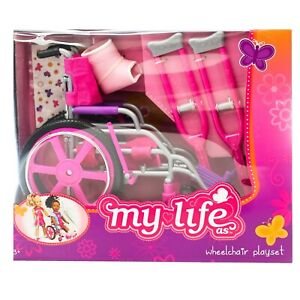 New My Life as Wheelchair Play Set Doll Accessories Kit Stickers Crutches Cast