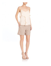 NWT- Theory Majken Modern Silk Georgette Ruffle-Front Cami Top, Dew - Size Small