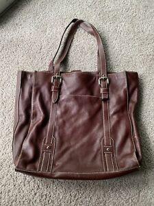 Fossil Burgundy Leather XLarge Tote Shoulder Bag/Briefcase # 75082
