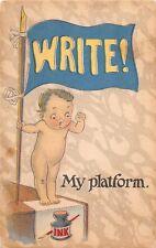 "D56/ Patriotic Postcard c1910 Comic Political Themed Child ""My Platform"" 23"