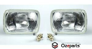 Pair Head Light Lamp With H4 Globe Glass Lens For Mitsubishi Triton 1986~2006
