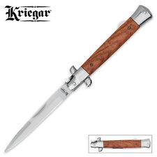 Kriegar German Style Stiletto ROSEWOOD Folding Knife - Mirror Finished Blade