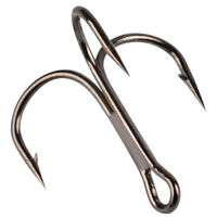 Lot 100 x Black Sharpened Fishing Treble Hooks 10 Sizes Stainless Steel Hooks