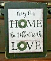 Home Filled w/ Love Wooden Sign Block Shelf Sitter Tuck Farmhouse Prim 3.5X4.5