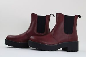 Dirty Laundry Womens Muse Burgundy Pull On Ankle Boots Leather Size 7.5 M
