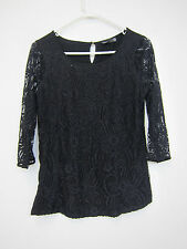 Noir Lace Blouse - Womens Medium - Black