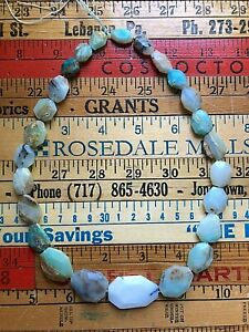 "Natural Graduated Peruvian Opal Faceted Slab Bead 18"" Strand"
