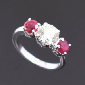 Beautiful 1.80 Ct Certified Off White Diamond Ring with Ruby Accents
