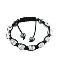 Stones Black Macrame Cord Bracelet Shamballa Inspired Silver Skull with Hematite